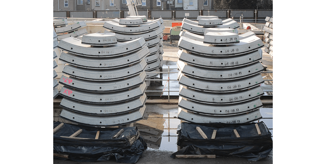Instrumented precast concrete segments ready for despatch to Thames Tunnel