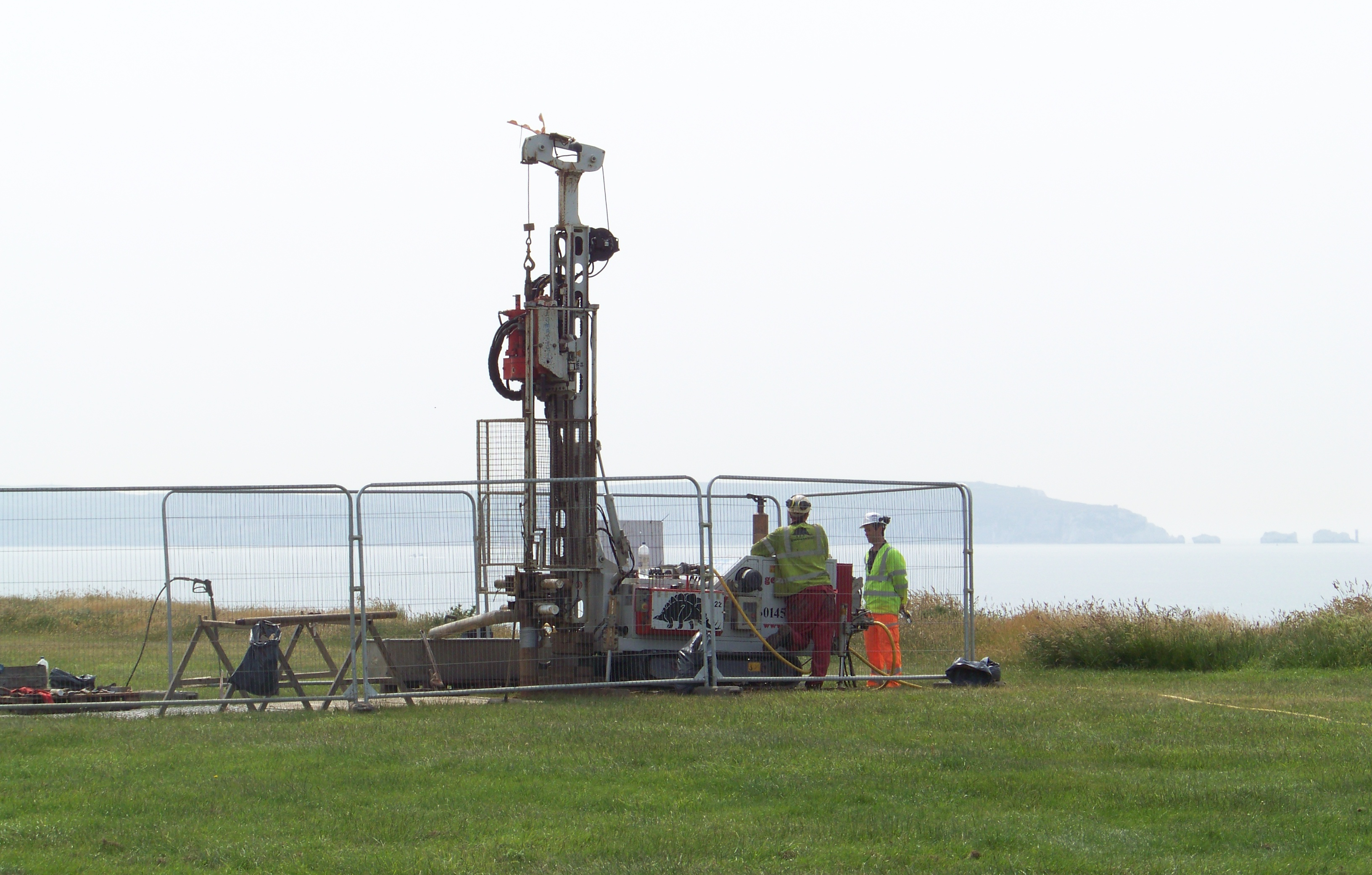 Drilling rig on cliff top at Barton on sea
