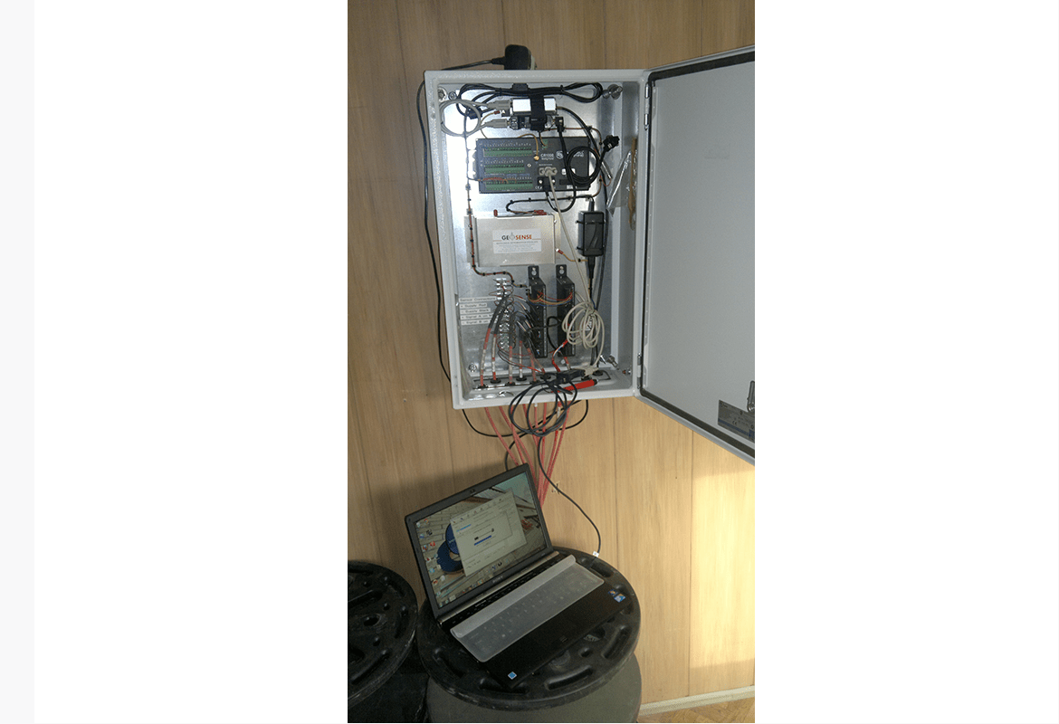 GeoLogger CR series cabinet mounted on office wall