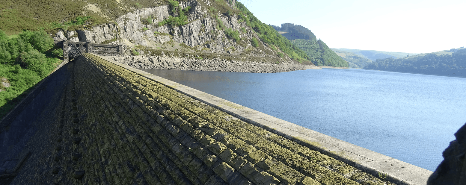 Caban Coch dam and reservoir in Wales