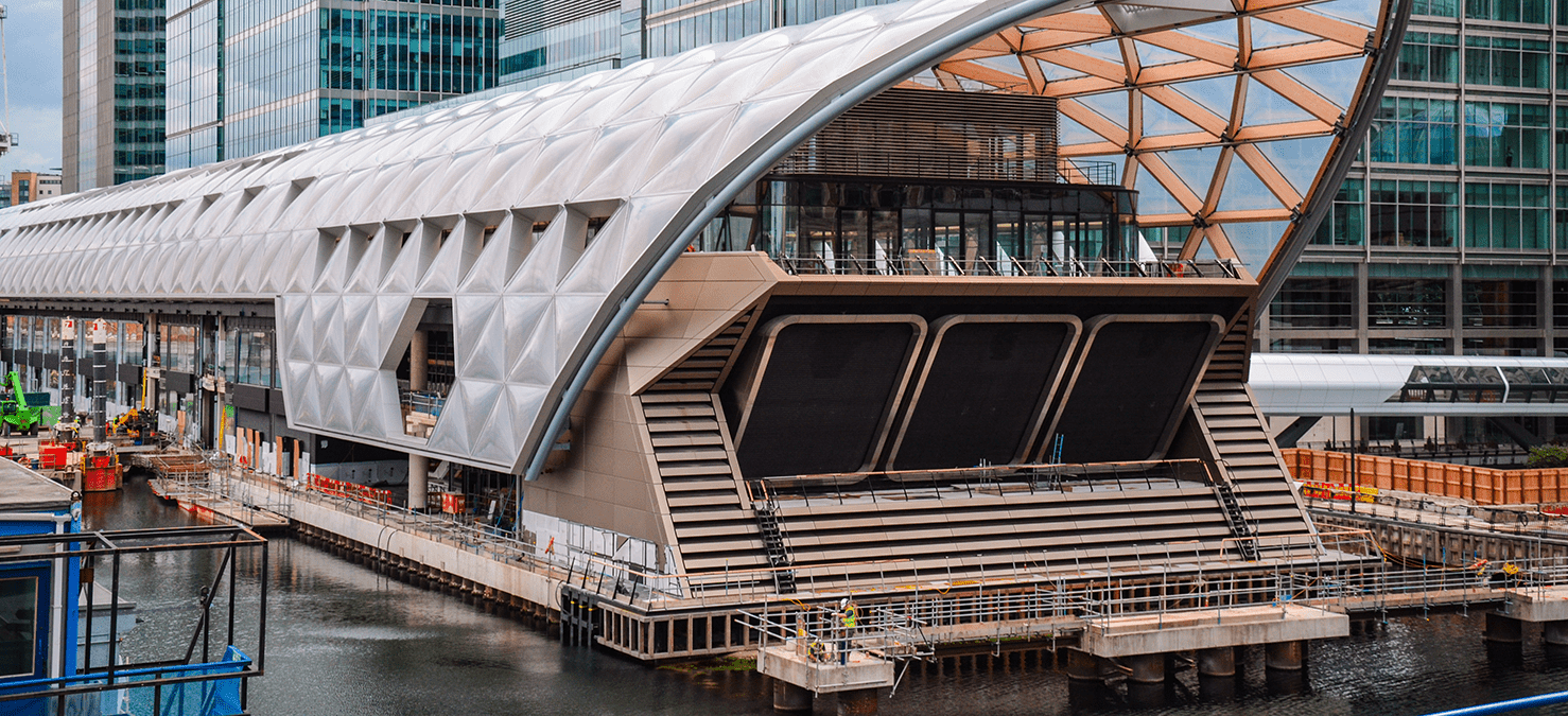 Canary Wharf station during construction