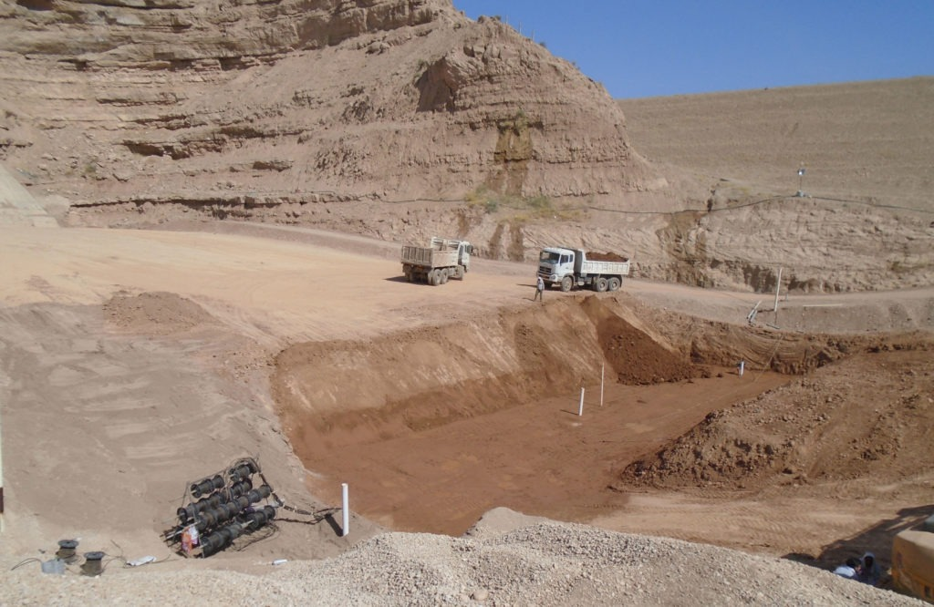 Site view of instrumented embankment dam construction