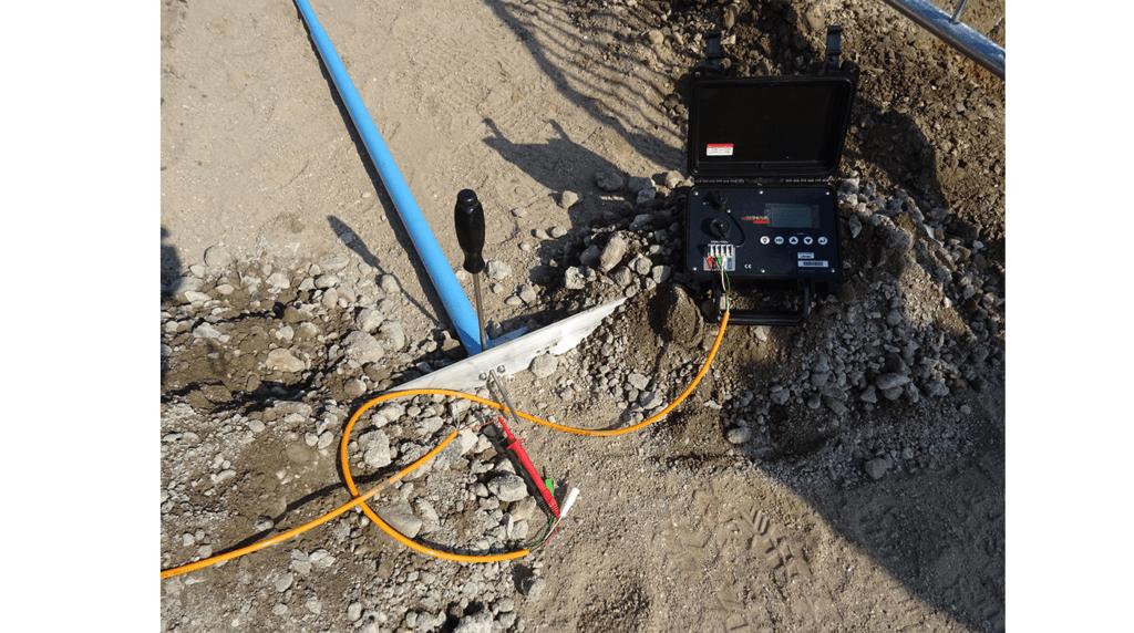 GEO-XS vibrating wire soil extensometer at embankment edge