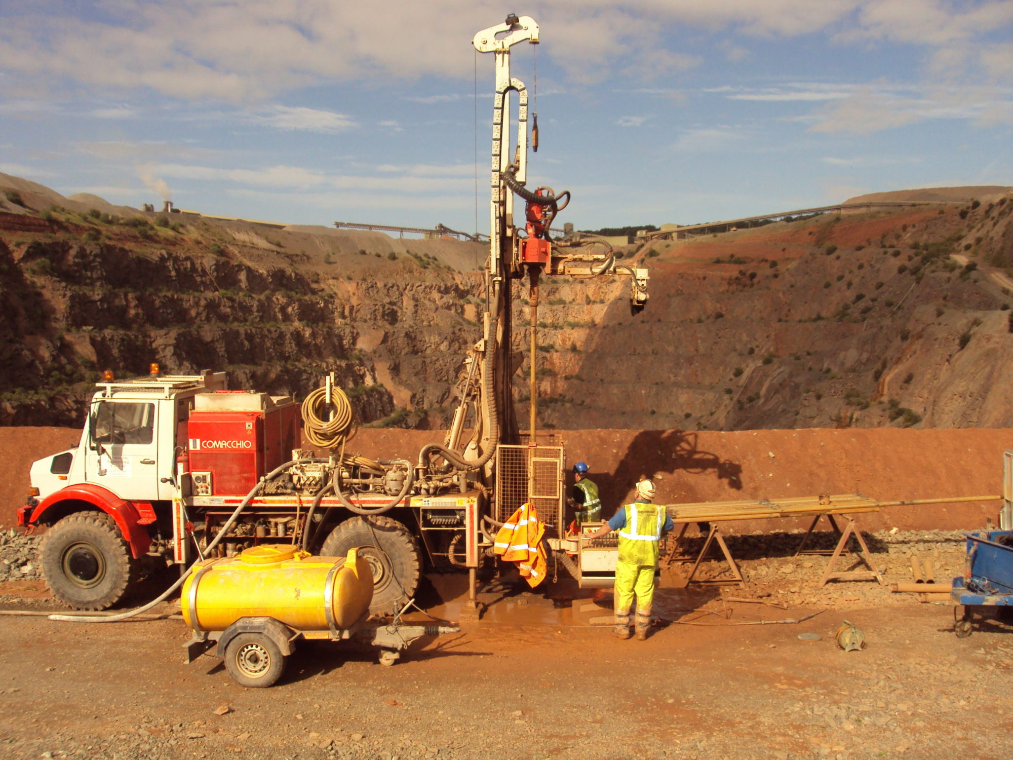 Drilling rig within quarry carrying out site investigation
