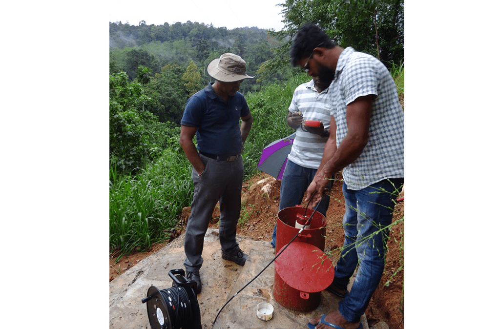 Engineers taking Portable Inclinometer readings on CRiP project