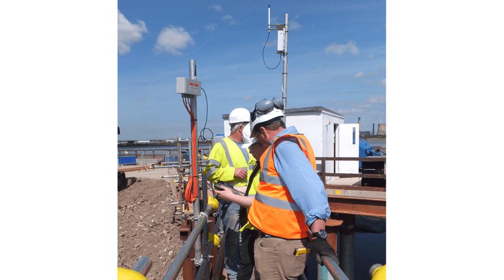 WI-SOS 480 Node and Gateway on mounting poles at Mersey Gateway bridge construction