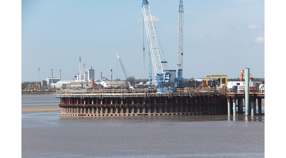 Central cofferdam in Mersey river at Mersey Gateway construction