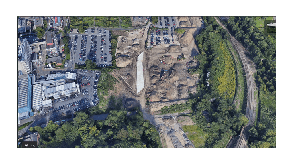 Aerial view of road construction at Watford Health campus