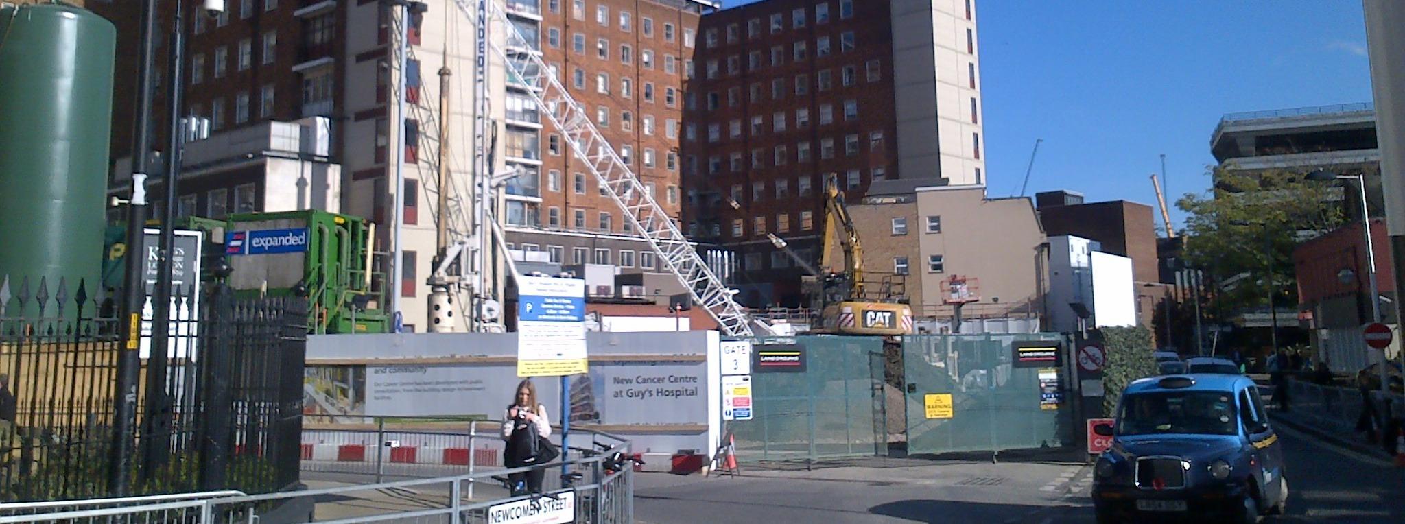 Guy's hospital extension construction site entrance