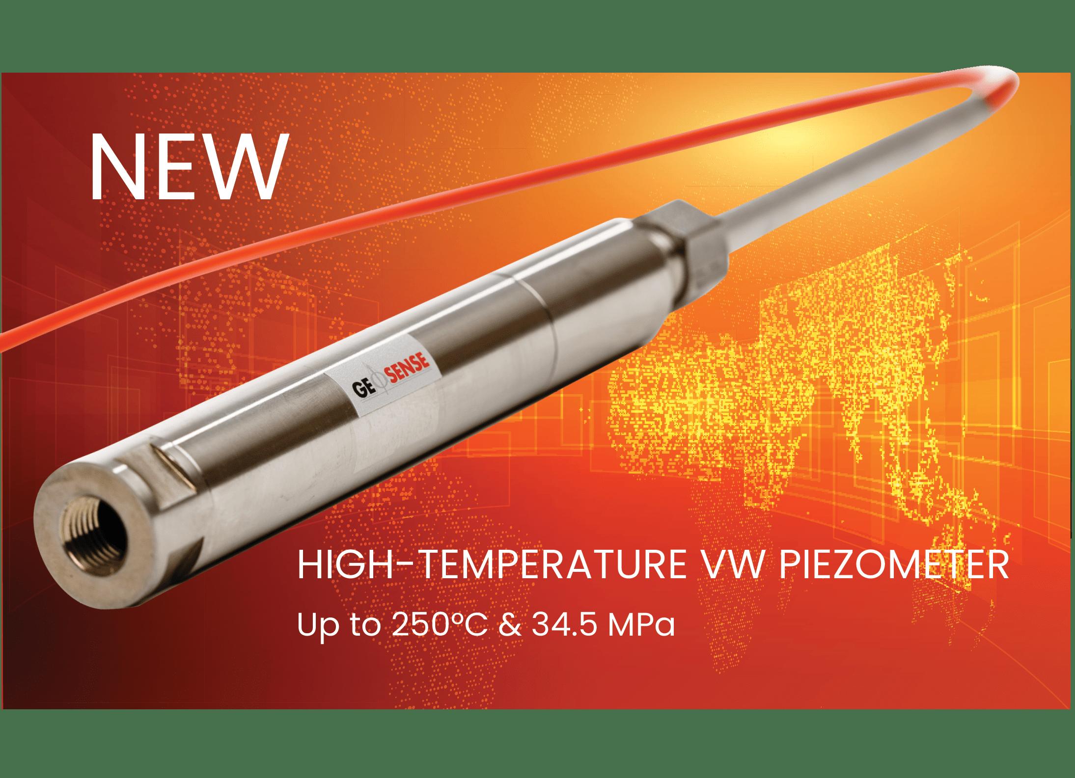 Marketing flyer of new Geosense high temperature piezometer VWPHT-3600