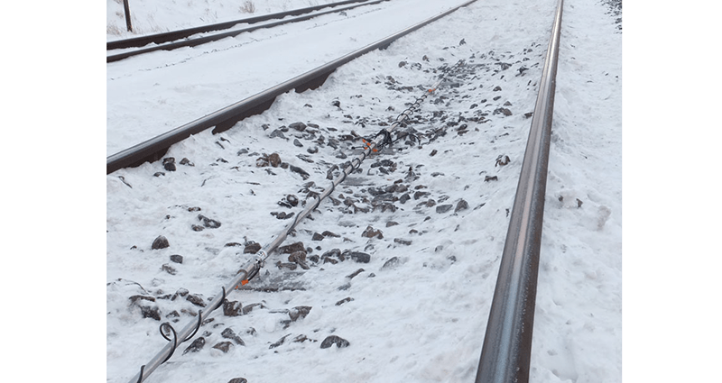 Geosense Track Monitoring System installed on Danish rail track in snowy conditions