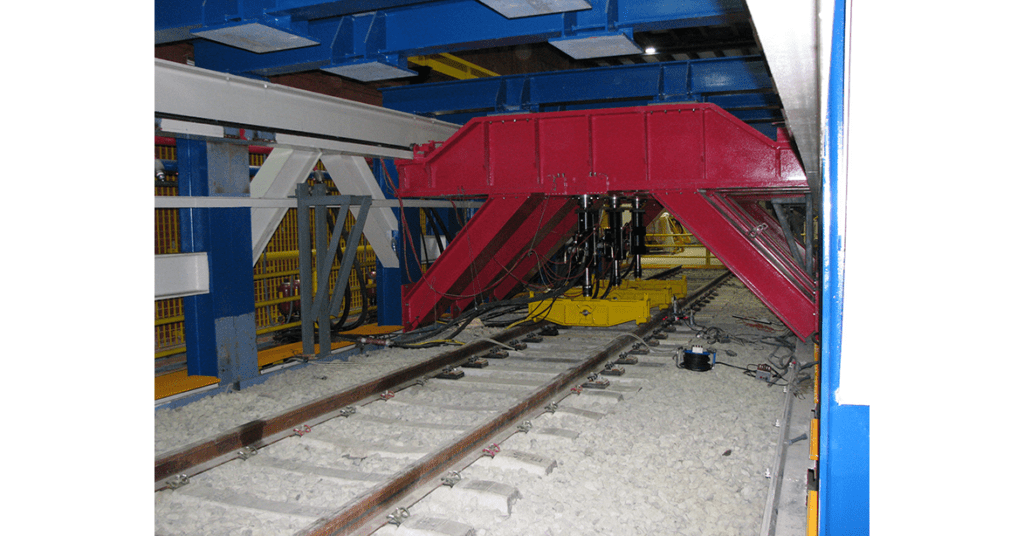Load testing of Total Pressure Cells under rail track at CEDEX test rig in Madrid