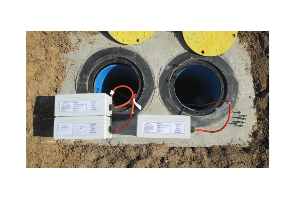 Vibrating wire dataloggers at top of borehole