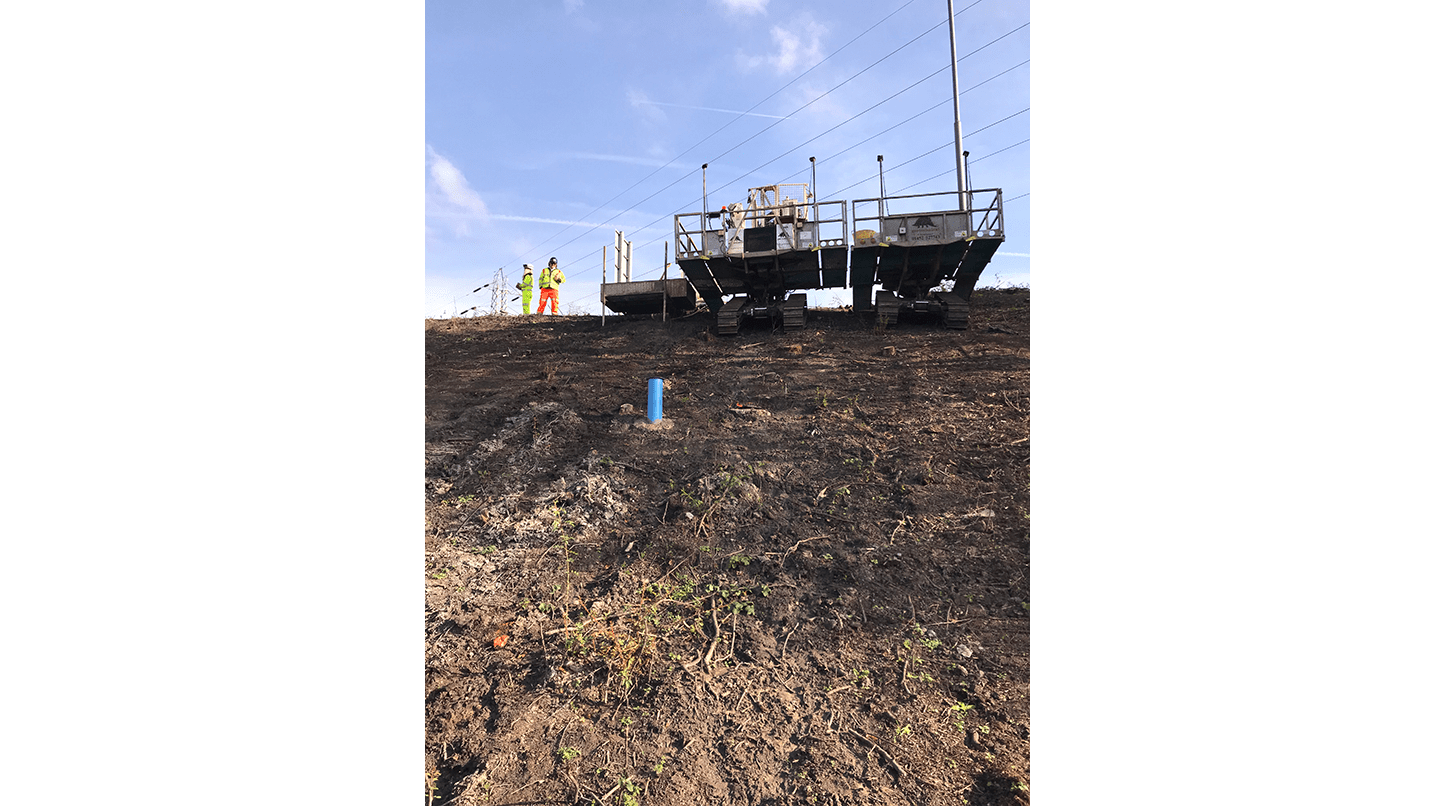 Drilling rig at top of slope after installing a VWP-3000