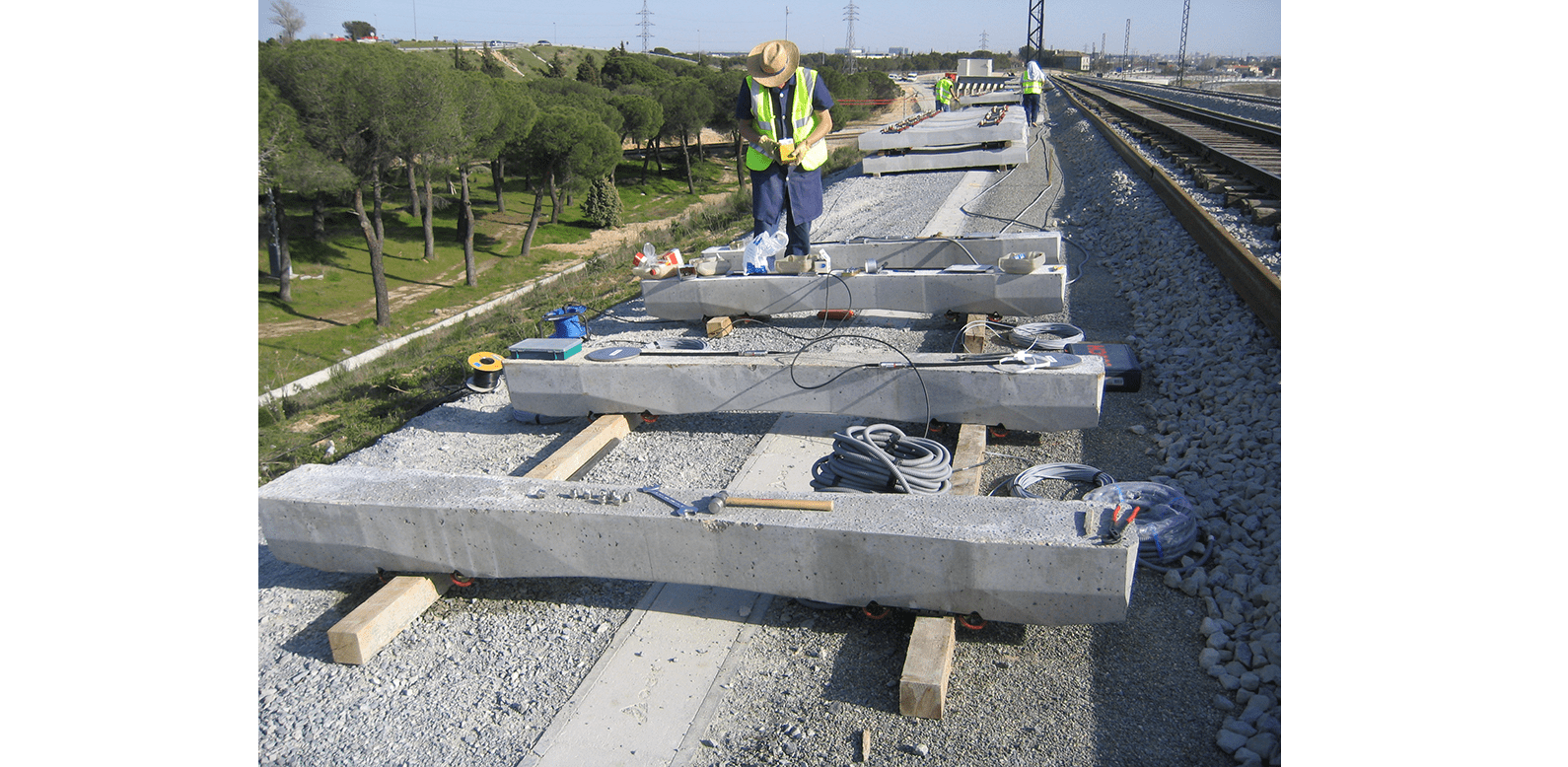 Total Pressure Cells being installed on sleepers on high speed rail