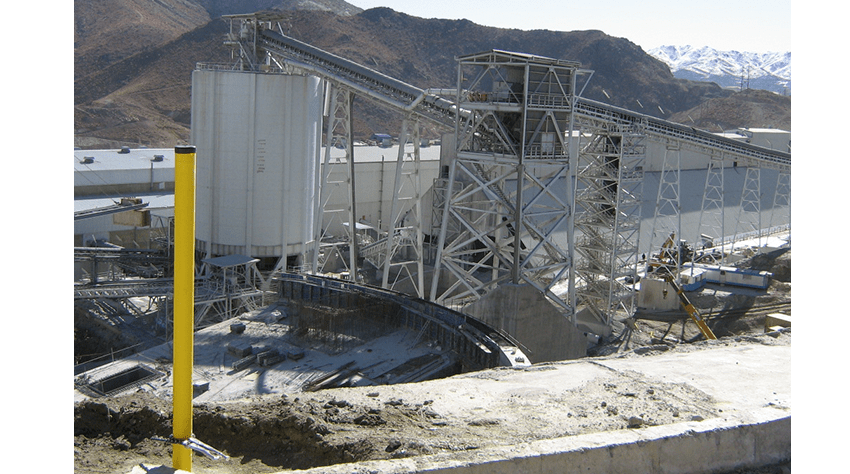 IQJ inclinometer casing in wall at mineral processing plant in open cast mine