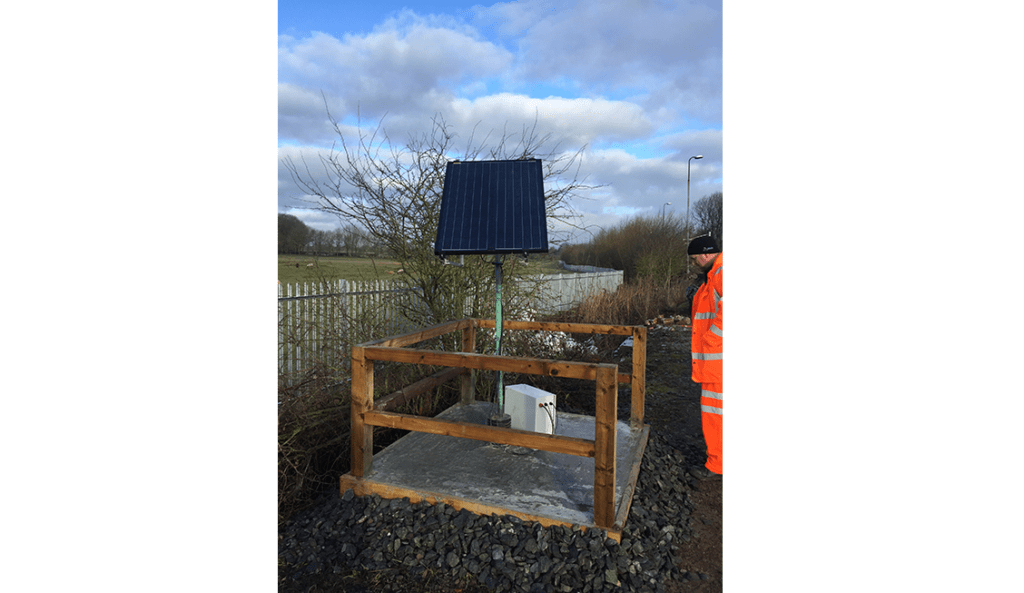 WI-SOS Gateway with solar panel in secure compound on the Chase line