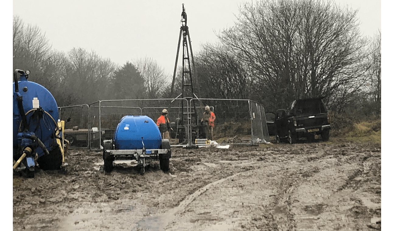 Drilling rig on site for In-Place inclinometer installation