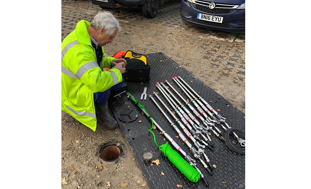 Engineer preparing to install Geosense In-Place Inclinometers