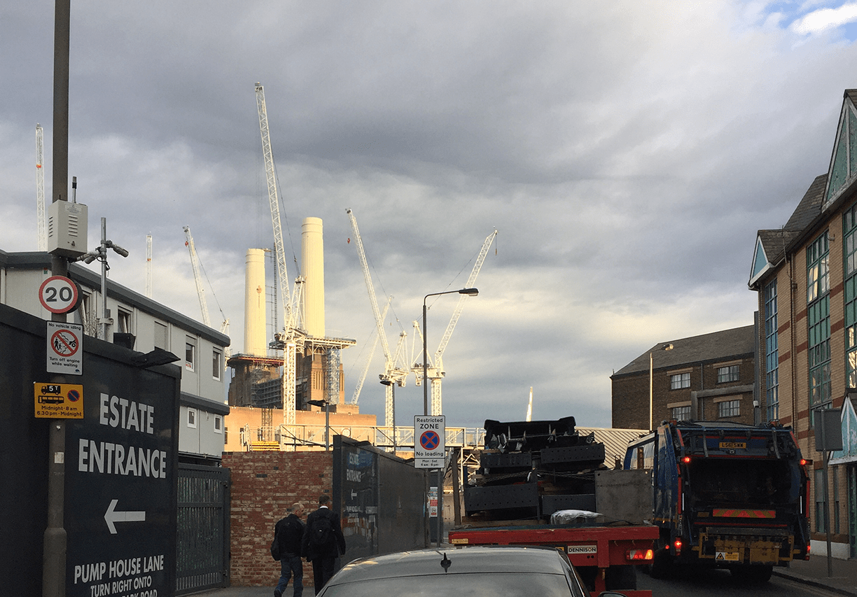 Site entrance to Battersea Power Station redevelopment