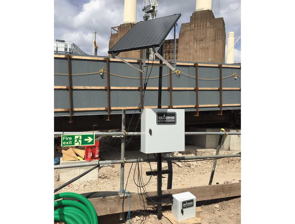 Geosense GeoLogger G8 Plus with solar panel at Battersea Power Station redevelopment site