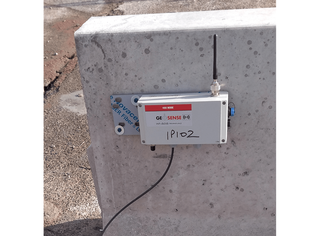 WI-SOS 480 Digital Node mounted on concrete wall connected to Geosense In-Place inclinometer