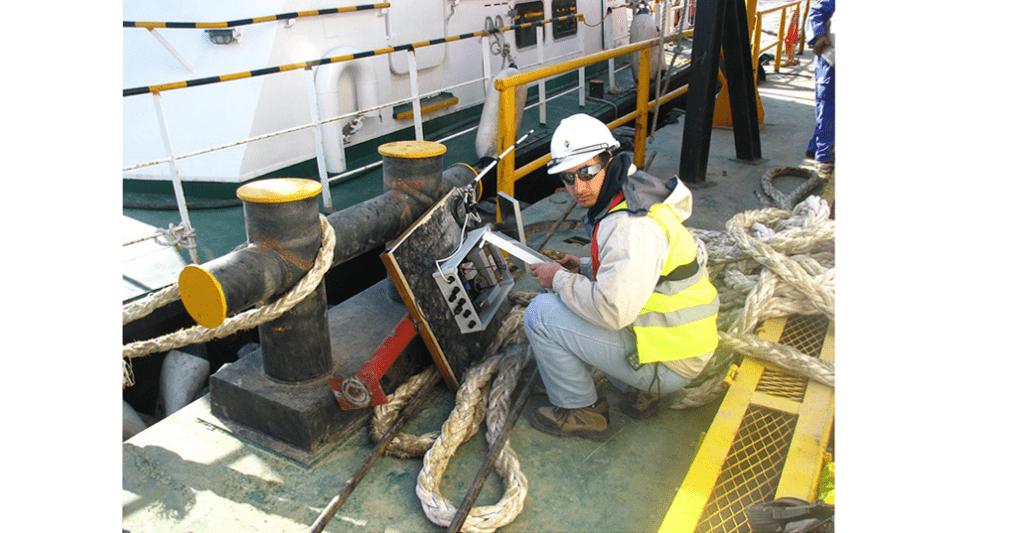 Engineer installing datalogger