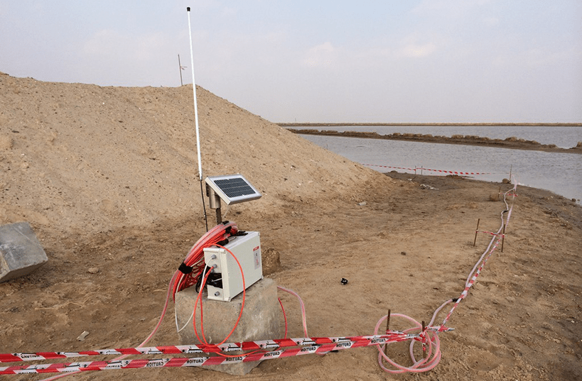 Wireless Gateway with antenna and solar panel at Al Faw port