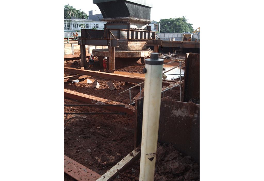 XC inclinometer casing installed on Jakarta Metro construction site