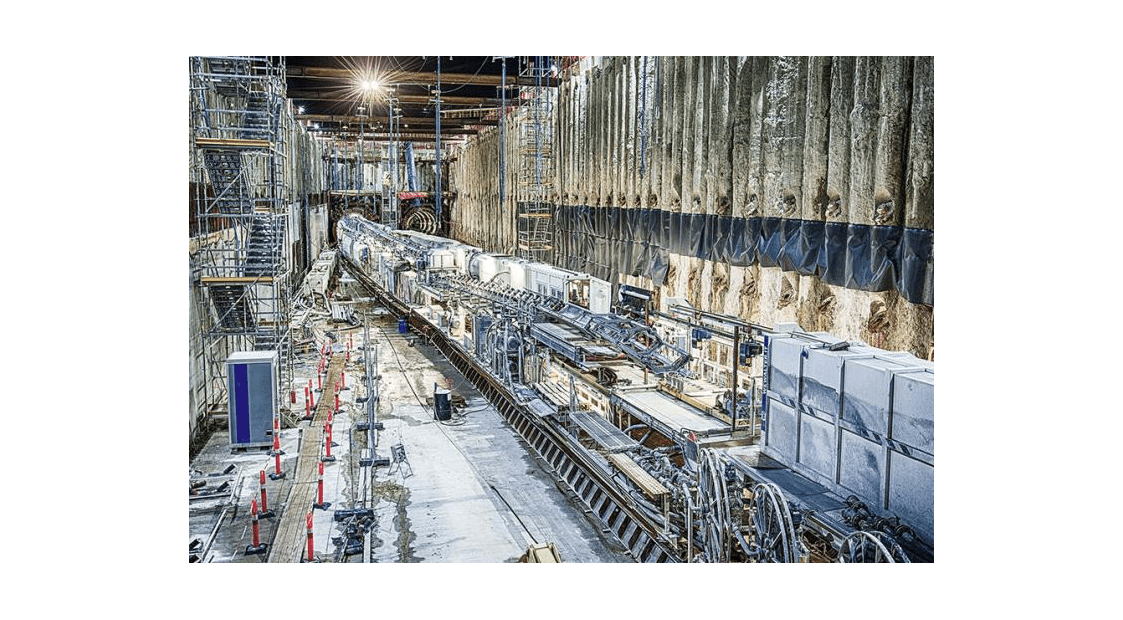 View of Nordhaven Metro station construction with TBM