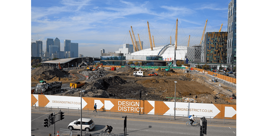 View of the Design District construction site with the O2 in the background