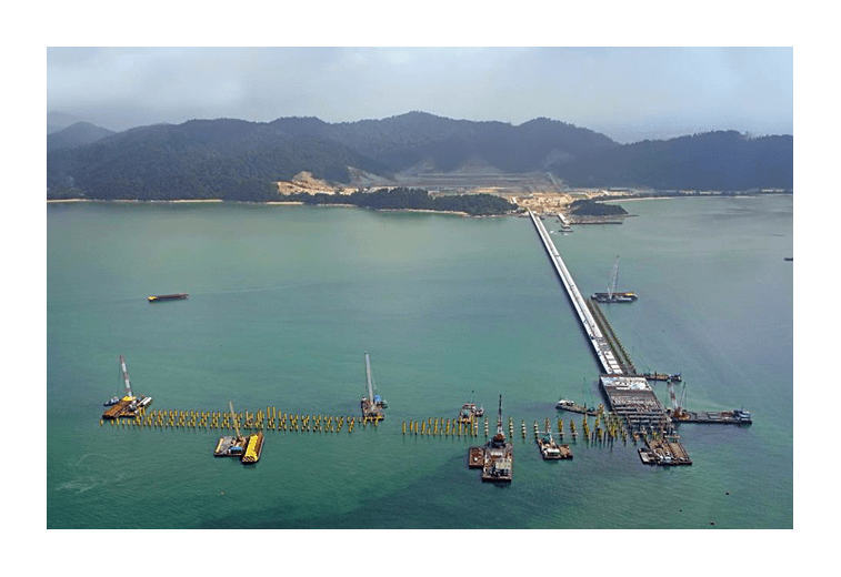 Aerial view of Manjung iron ore handling plant and jetty under construction