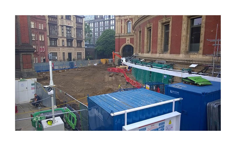 View of construction site adjacent to the Albert Hall, London
