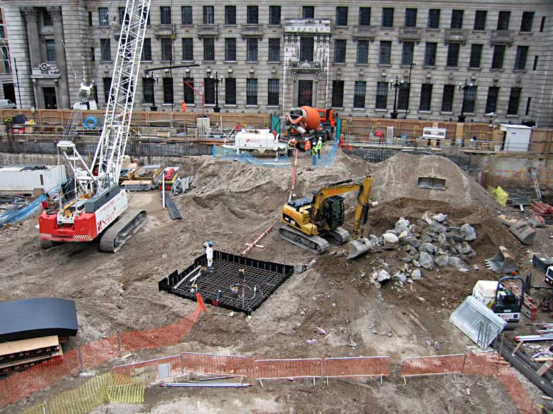 Site view of construction of the Pinnacle following demolition of existing structure