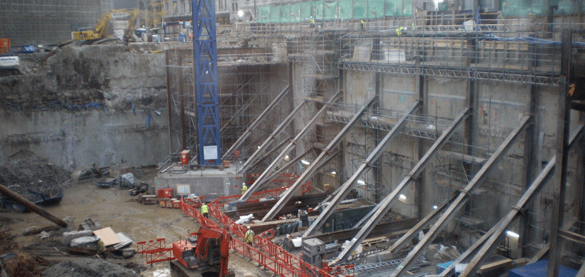 Heavy prop support of retaining wall onto which Tilt Meters were placed on Bishopsgate during demolition for construction of the Pinnacle