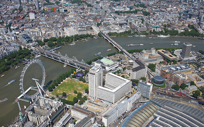 Aerial view of the Thames with Shell Centre and London Eye