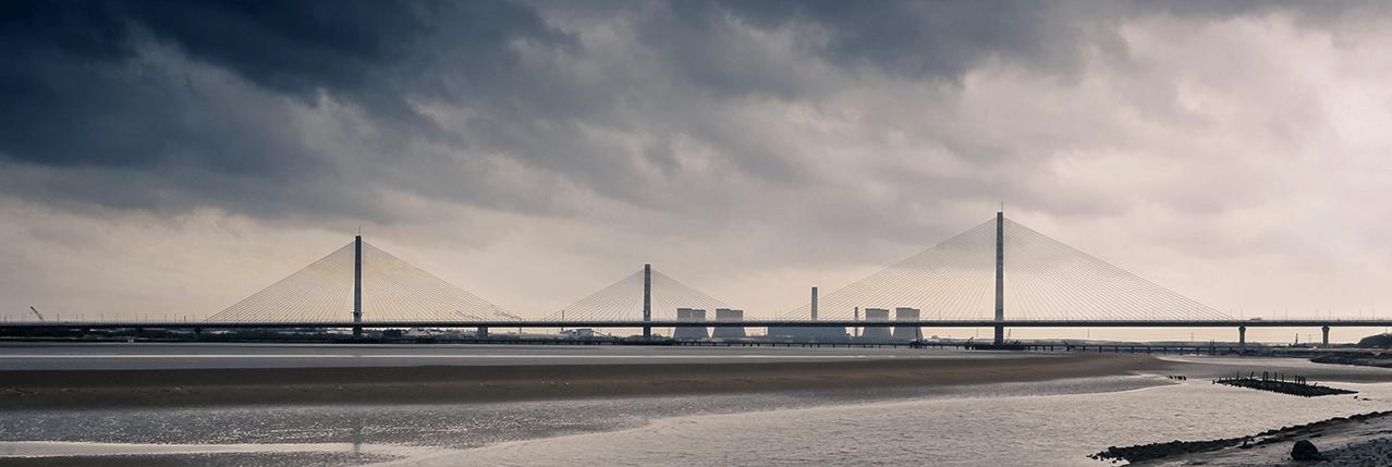 Mersey Gateway across the river Mersey