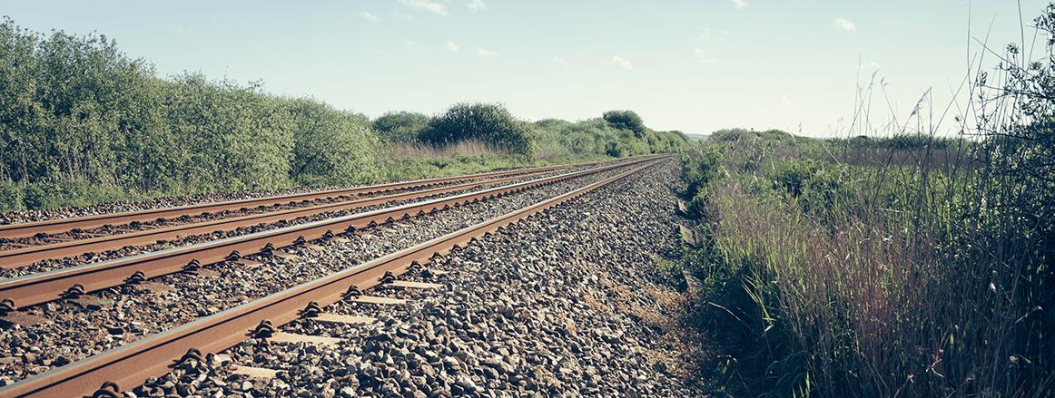 Longitudinal view of rail track