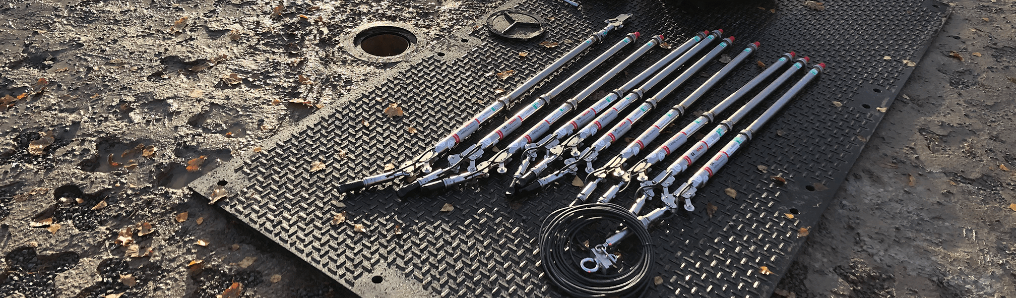 In-Place inclinometers on ground ready to install in borehole