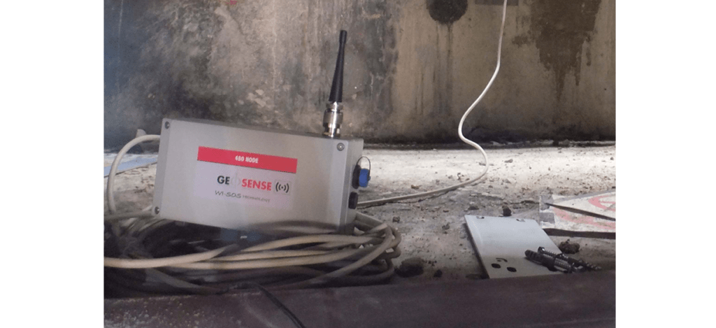 WI-SOS Node on ledge on construction site