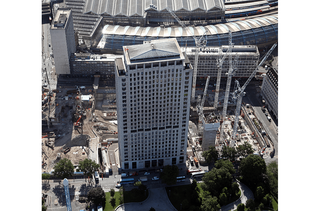 Aerial view of the Shell centre during re-development