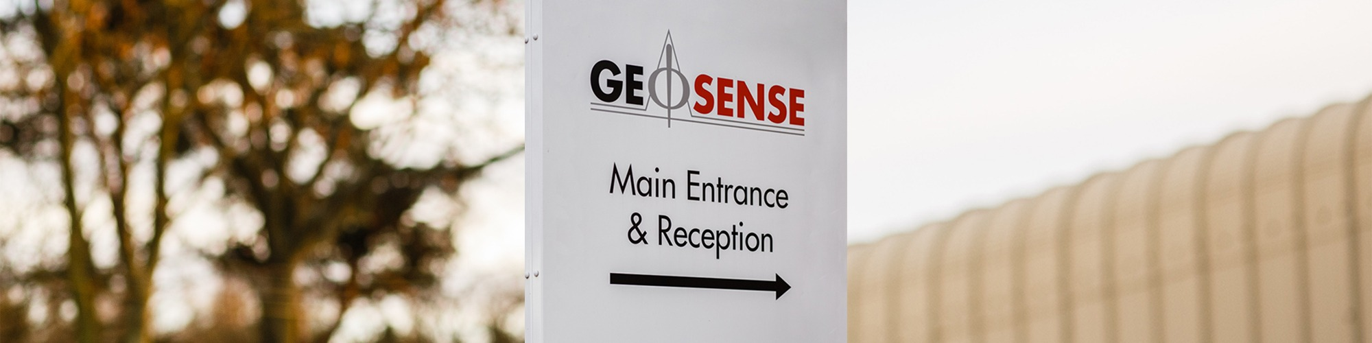 Geosense main entrance and reception sign
